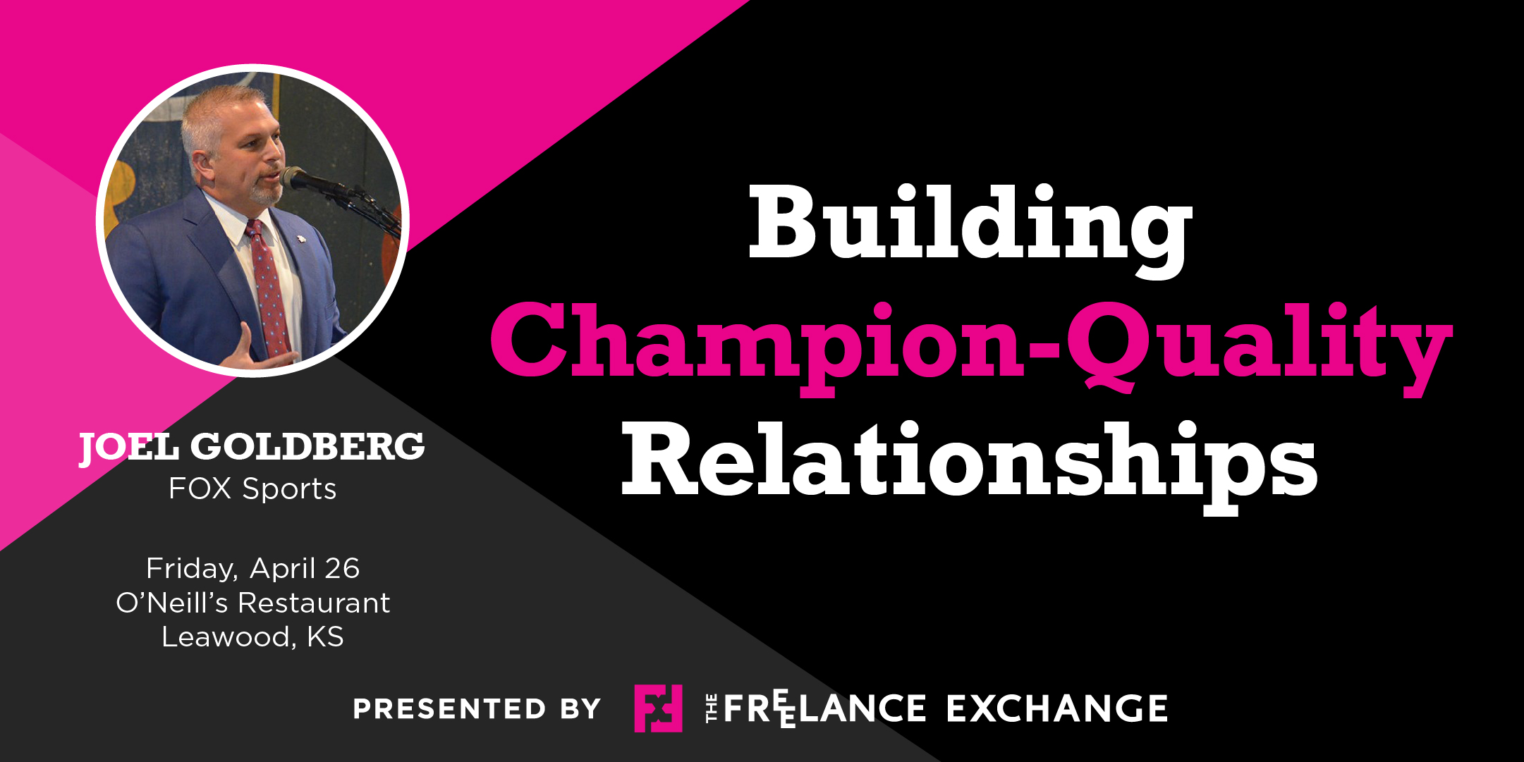 April Luncheon banner Joel Goldberg Building Champion Quality Relationships